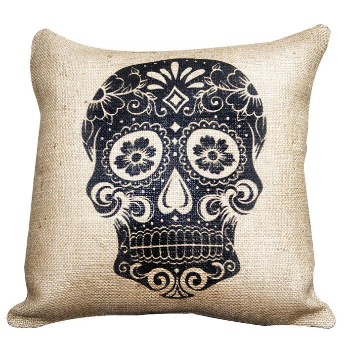 Sugar Skull Burlap Pillow in Beige