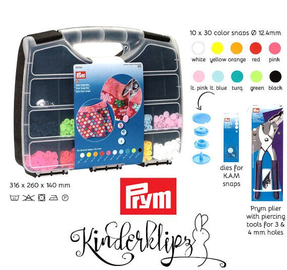 KAM snaps box with PRYM plier and snap setter tool + 300