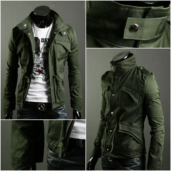 Military Style Men's Slim Fit Stand Collar Jacket Coat Zip Button ...