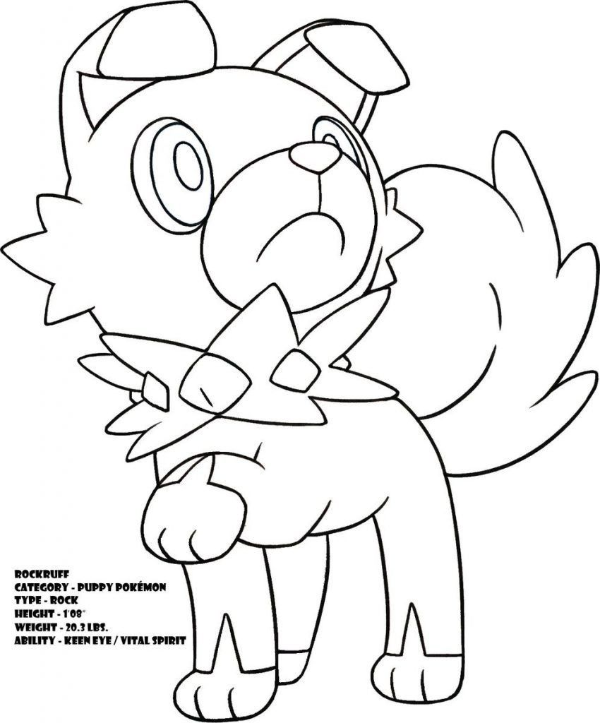 Pokemon Coloring Pages Rockruff Pokemon Coloring Pages Moon