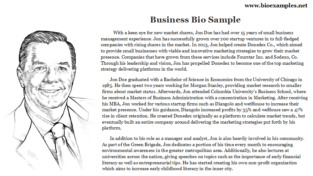 Business Bio Sample  Bio Examples    Business