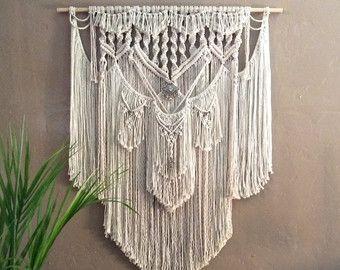Extra gro e makramee wandbehang wandteppich hochzeit kulisse macrame pinterest wandteppich - Makramee wandbehang ...
