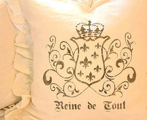 Made To Order White Linen Cotton Blend Ruffled SLIP COVER ONLY Ornate French Reine de Tout Crown and Scroll Design