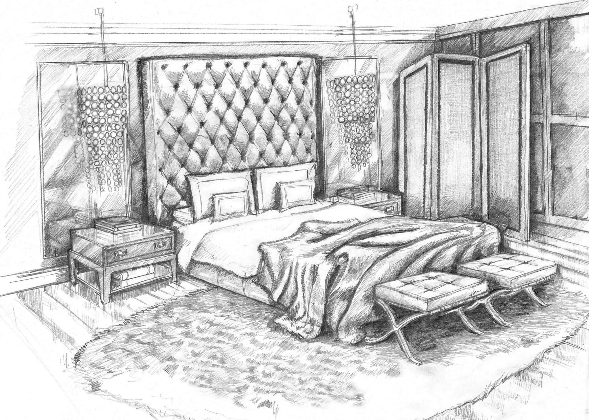 Pencil sketch art master bedroom concept design visual by for 3d bedroom drawing