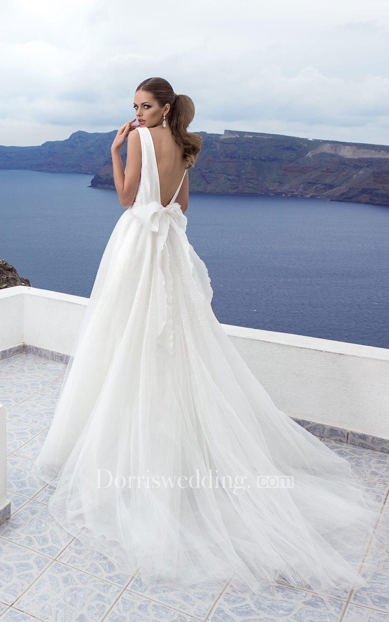 Aline vneck lowv back tulle floorlength dress with bowusequins