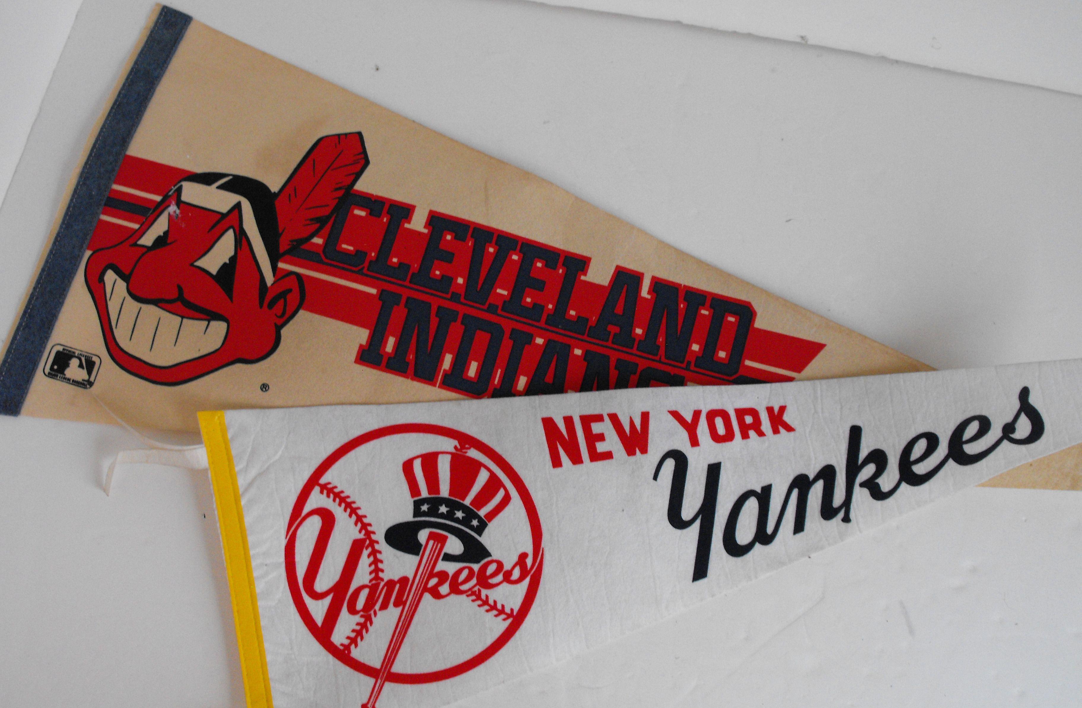 Ny Yankees Cleveland Indians Pennants 1858 Etsy Pennant Cleveland Indians Yankees