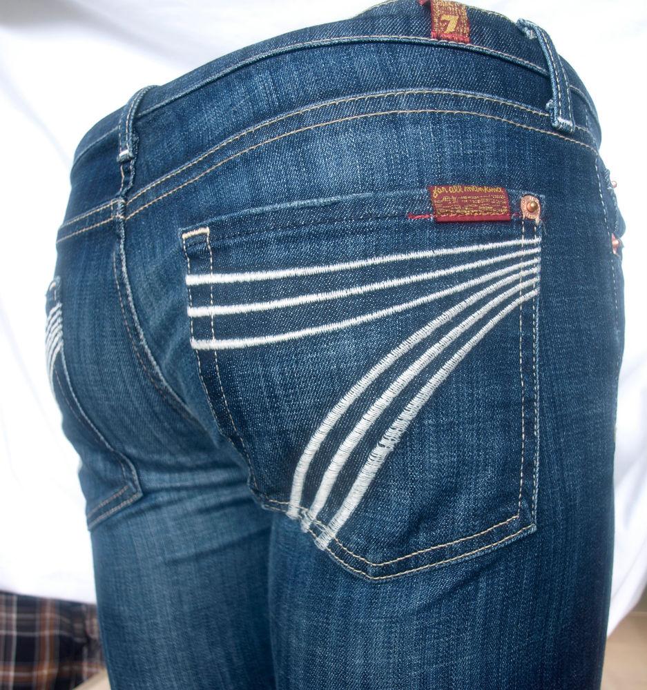 7fce4e837b1 7 Seven For All Mankind womens jeans Dojo flare leg stretch denim size 28