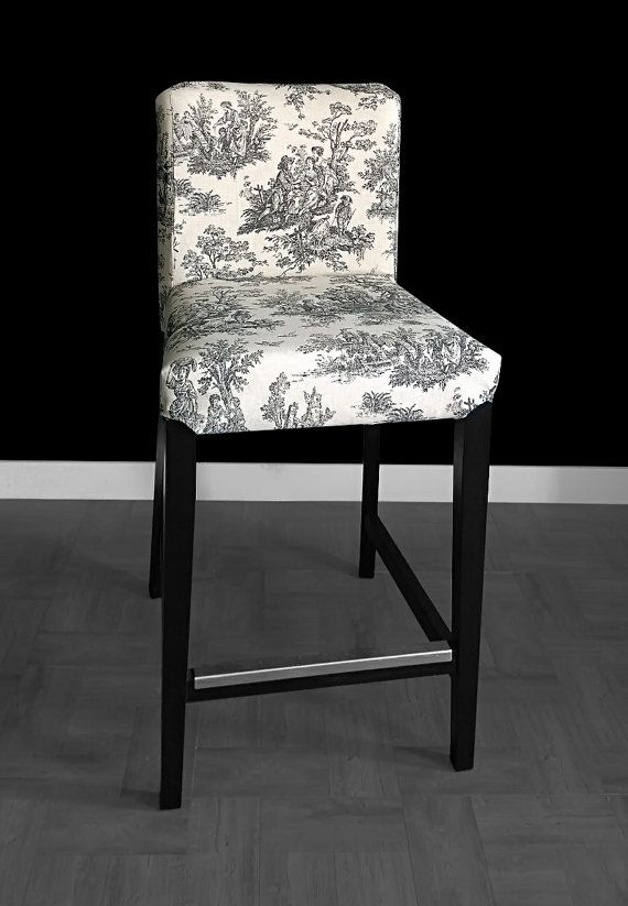 ikea linen chair covers lift for stairs india henriksdal bar stool cover colonial black by rockincushions