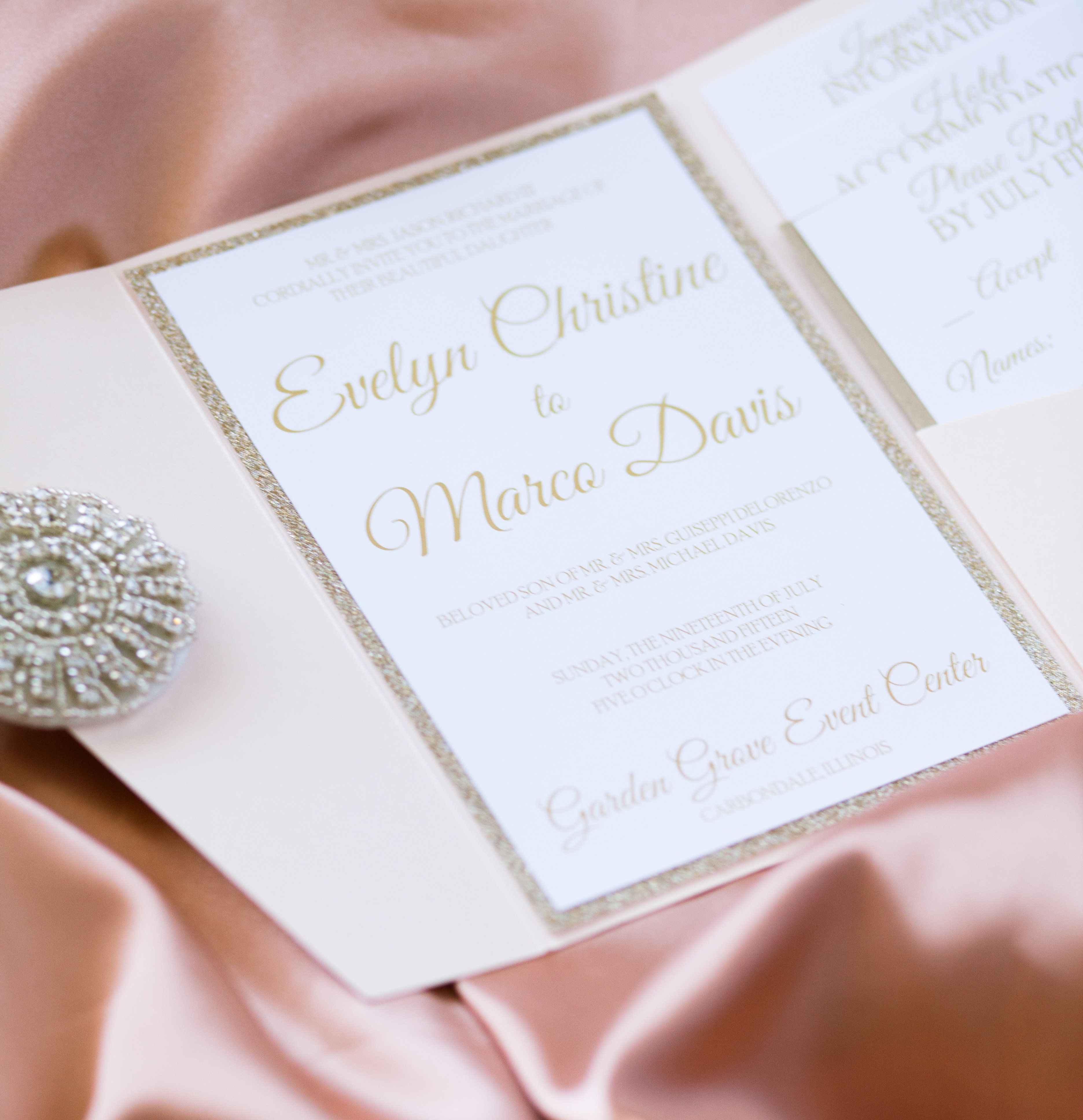 The Evelyn Suite | Glitter wedding invitations, Invitation suite and ...