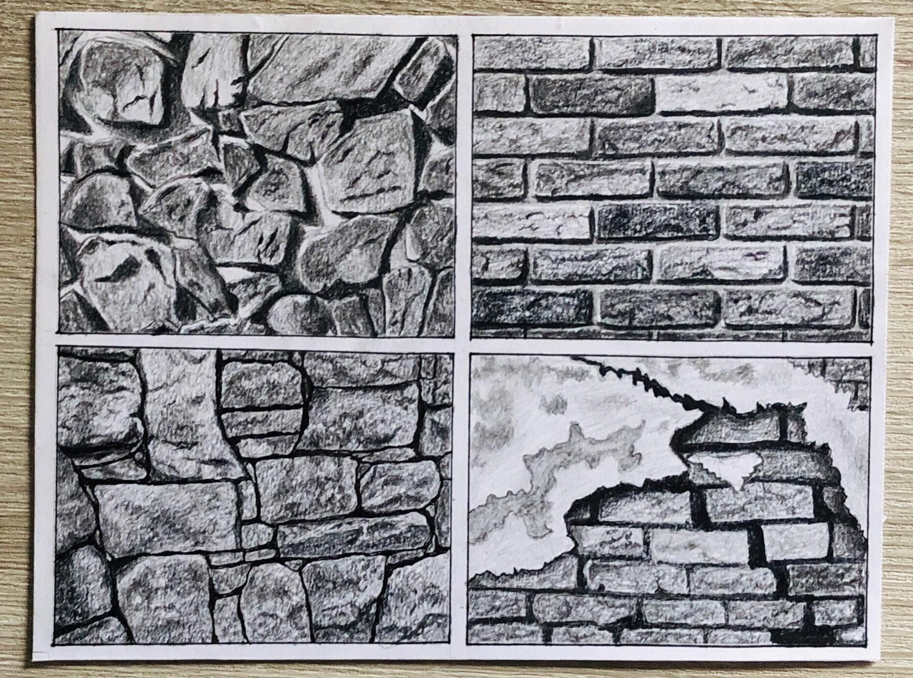 Stone And Brick Wall Textures With Pencil Asif340
