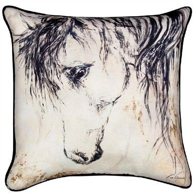 Wild Mane II Horse Pillow by Manual Woodworkers