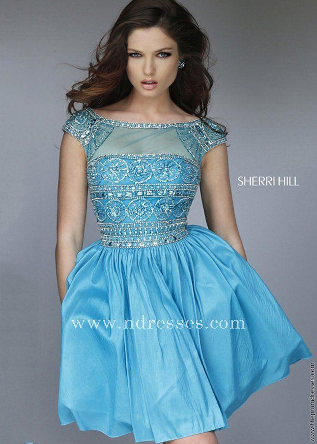 Beautiful Short Bold Beaded Turquoise Illusion Party Dress