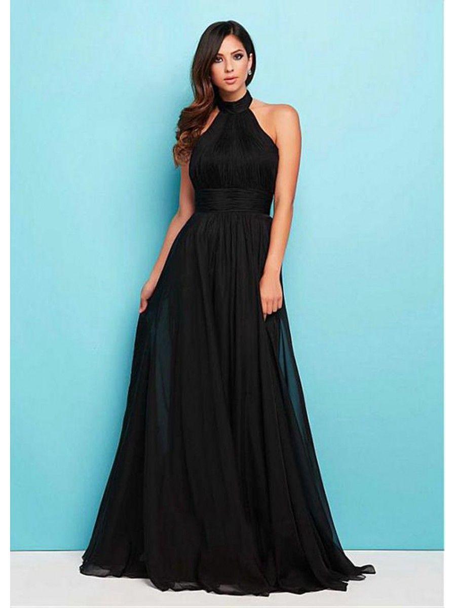Long Black Halter Chiffon Bridesmaid Prom Formal Evening Dresses ...
