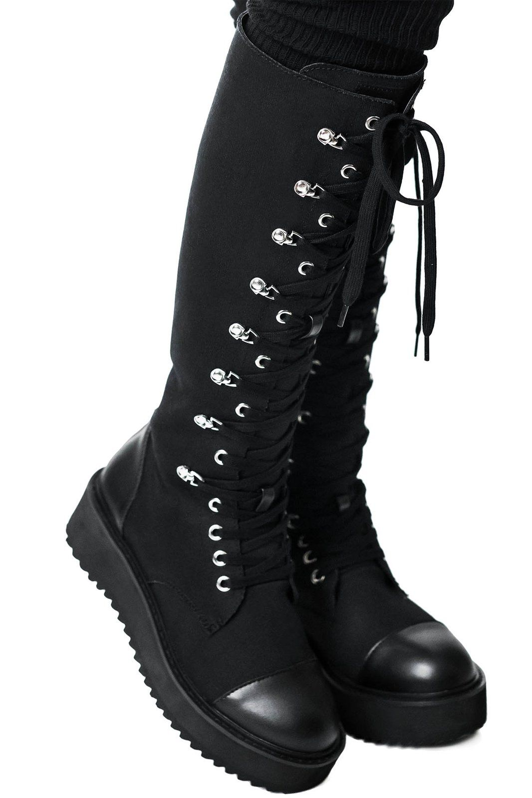 Details about  /Party Fashion Women Over the Knee Lace Up Thigh High Combat Low Heel Boots Shoes