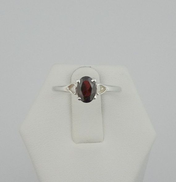 Fun Garnet and Sterling Silver Ring by rubysvintagejewelry on Etsy