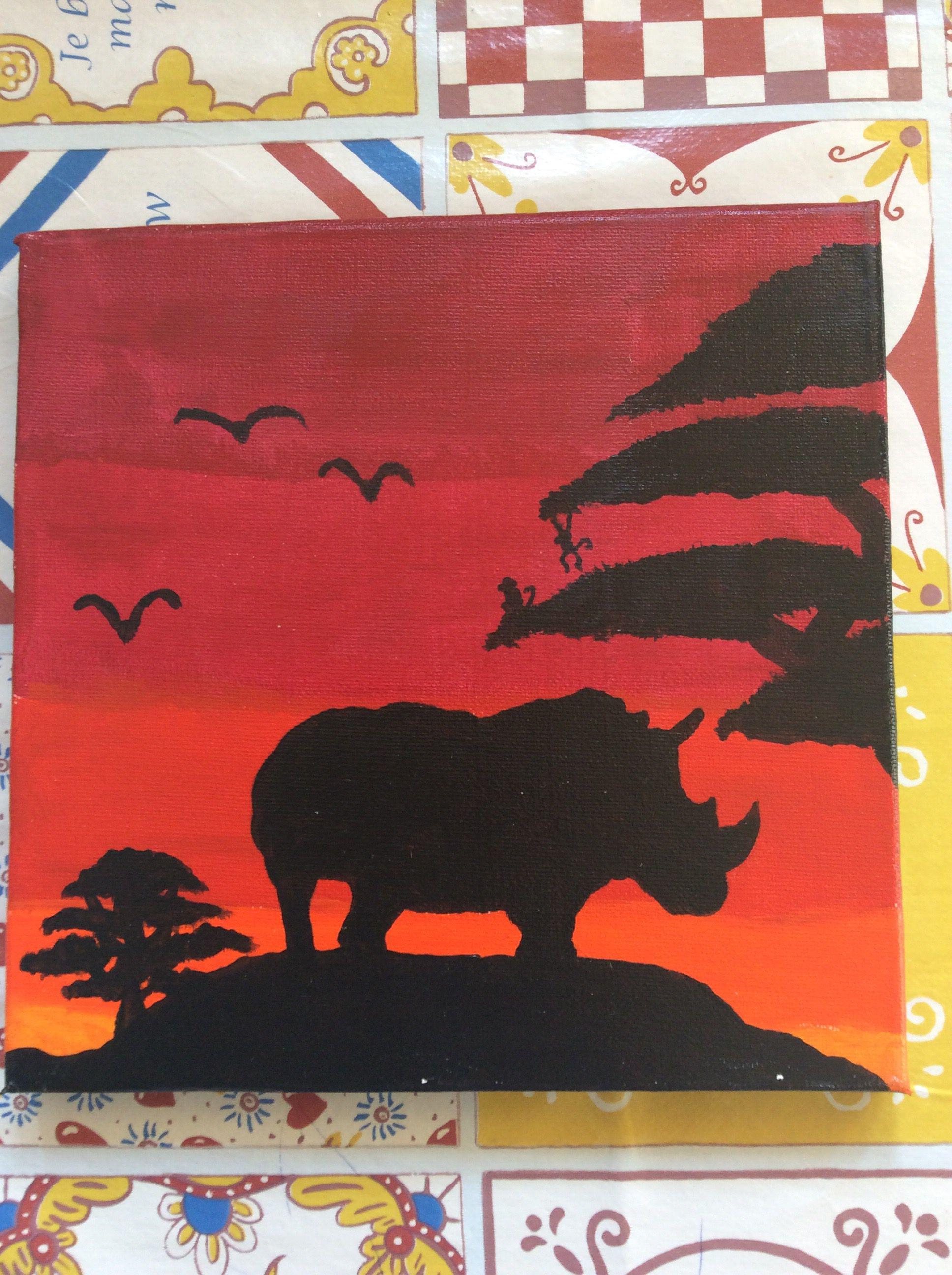 Neushoorn Zonsondergang Afrika Creatief Afrika Neushoorn