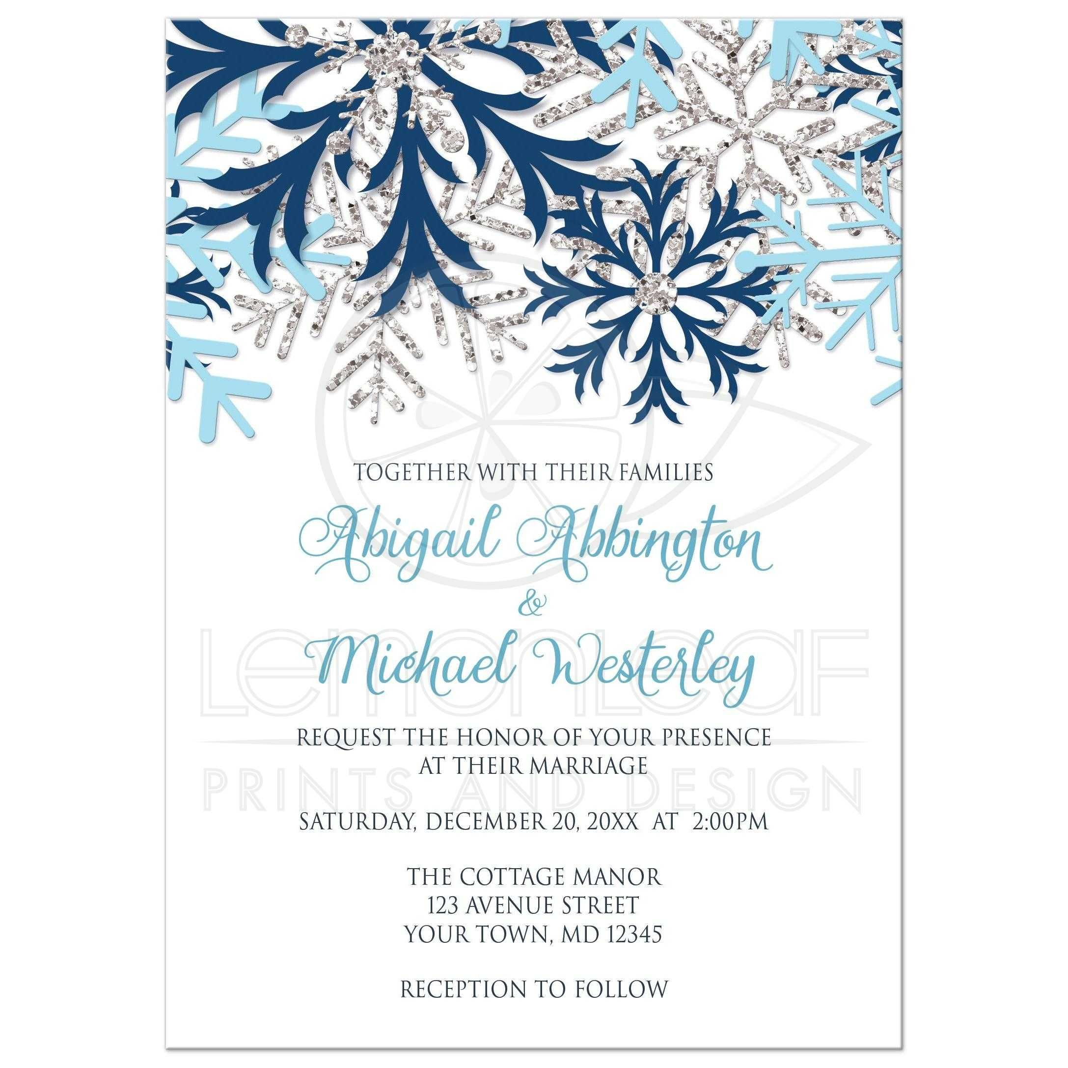 Wedding Invitations - Winter Snowflake Blue Silver | Winter ...
