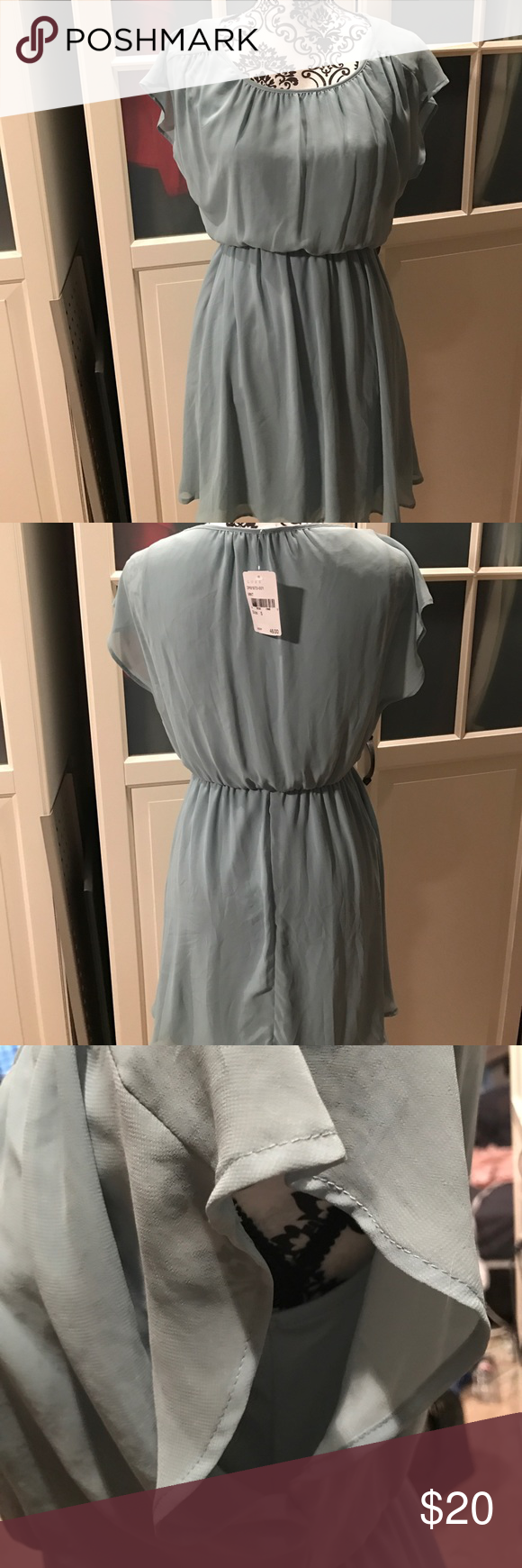 Mint green dress Mint green dress NWT. Size small but has some stretch to it. I wear a medium and it fit great. Lined with matching mint green. Great for spring and summer lush Dresses Mini