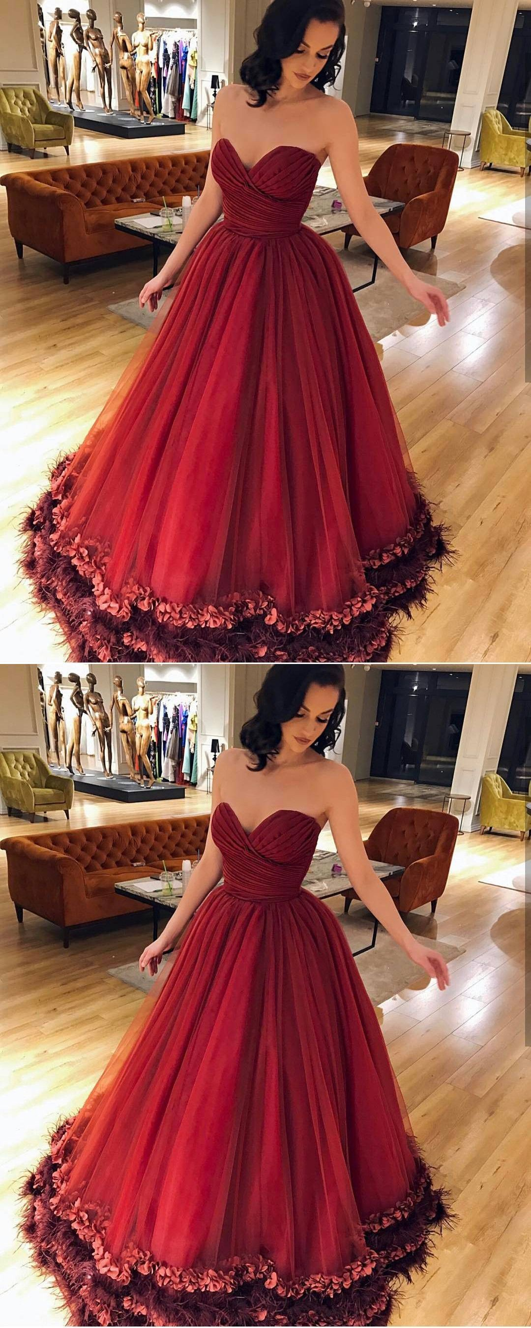 Burgundy tulle ruched sweetheart prom ball gowns dresses long d