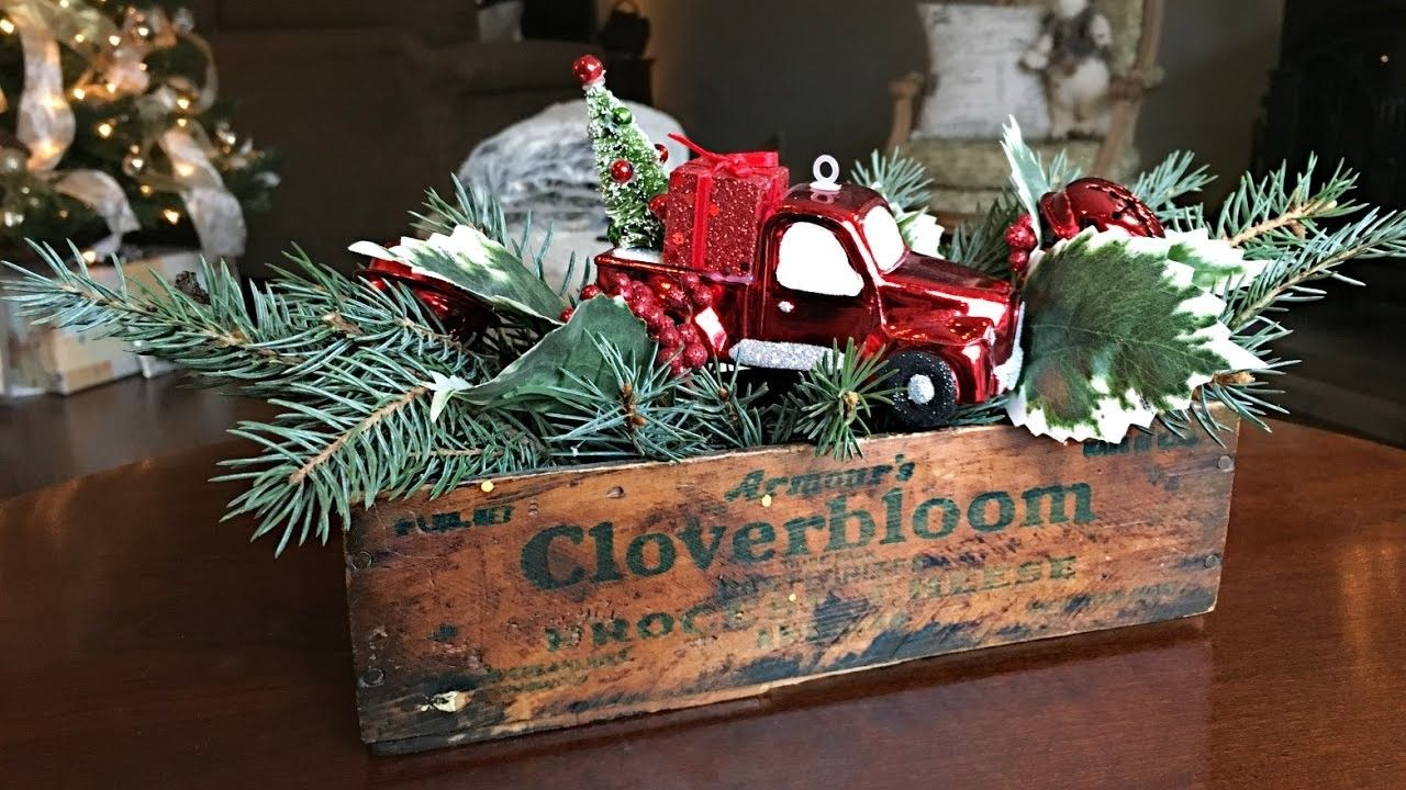 Red truck christmas centerpiece diy christmas decorating rustic