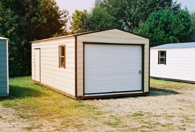 12 X 24 Long Roof Garage 6 5 X 9 Roll Up Door Cream With Brown Trim Pre Built Aluminum Storage Buildings And Sheds We Shed Built In Storage Modular Building