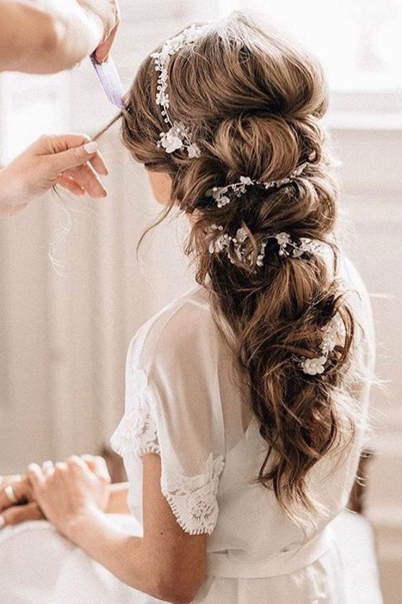 Gorgeous Bride Hair Wedding Hairstyle Pulled Back Long Bridal Hairstyle Https Fave Co 2puclcl Bride Hairstyles Bridal Braids Wedding Hairstyles