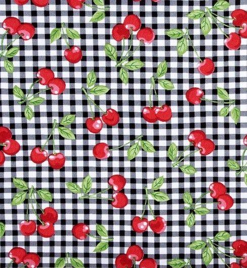 Tecido Patchwork  Robert Kaufman - Cherries on Checkers - Mix3Arts