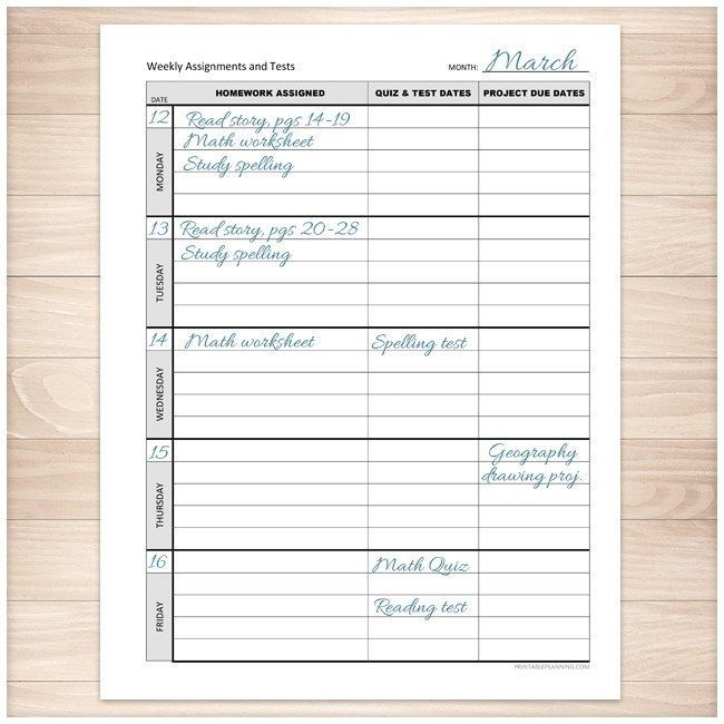 Weekly School Assignments and Tests Sheet - Printable School - printable assignment sheet