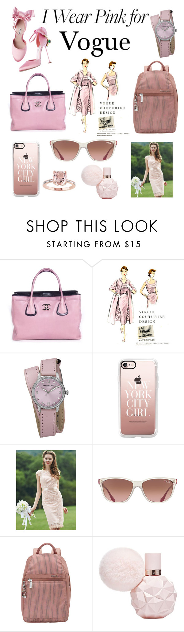 """I wear pink for ... contest"" by fordhamemily ❤ liked on Polyvore featuring Chanel, Stührling, Casetify, Vogue Eyewear, Hedgren and IWearPinkFor"