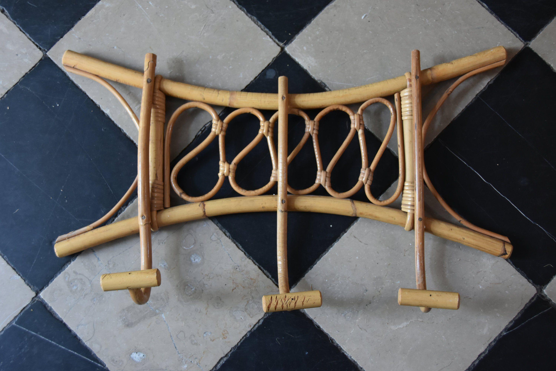 Porte Manteau Style Scandinave old coat rack wardrobe, rattan bamboo wicker vintage 70's