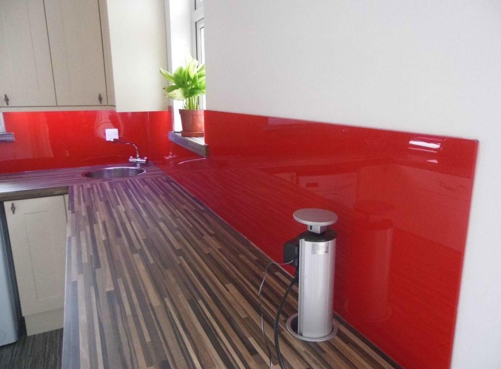 White Kitchen Red Splashback a lovely glossy red acrylic kitchen splashback, with a high gloss