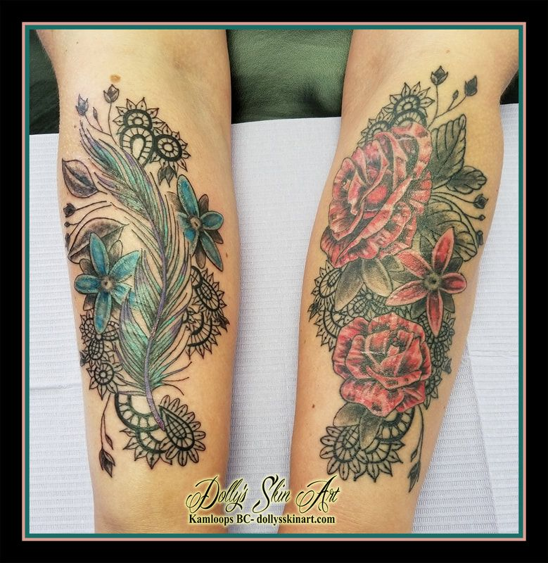 4f9c2f23c feather flowers lace forearm matching blue purple red healed and fresh  tattoo kamloops dolly's skin art