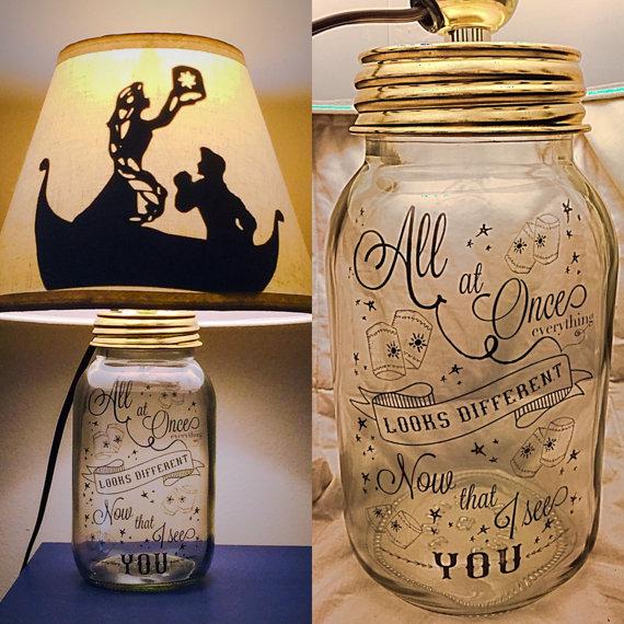 Rapunzel Mason Jar Character Lamp Mason Jar Lamp Disney Lamp Mason Jar Diy