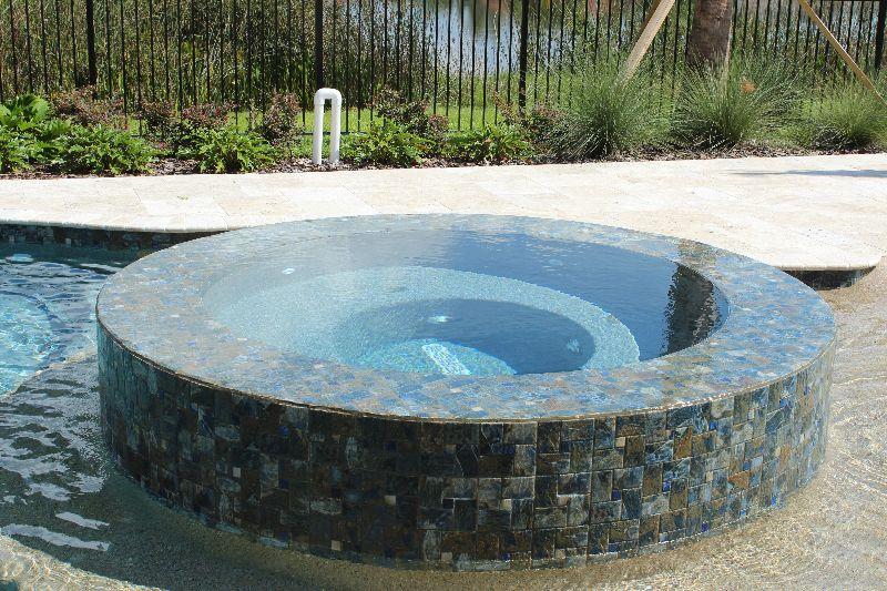 Raised Spa Infinity Edge Spa Penny Tile 360 Pools