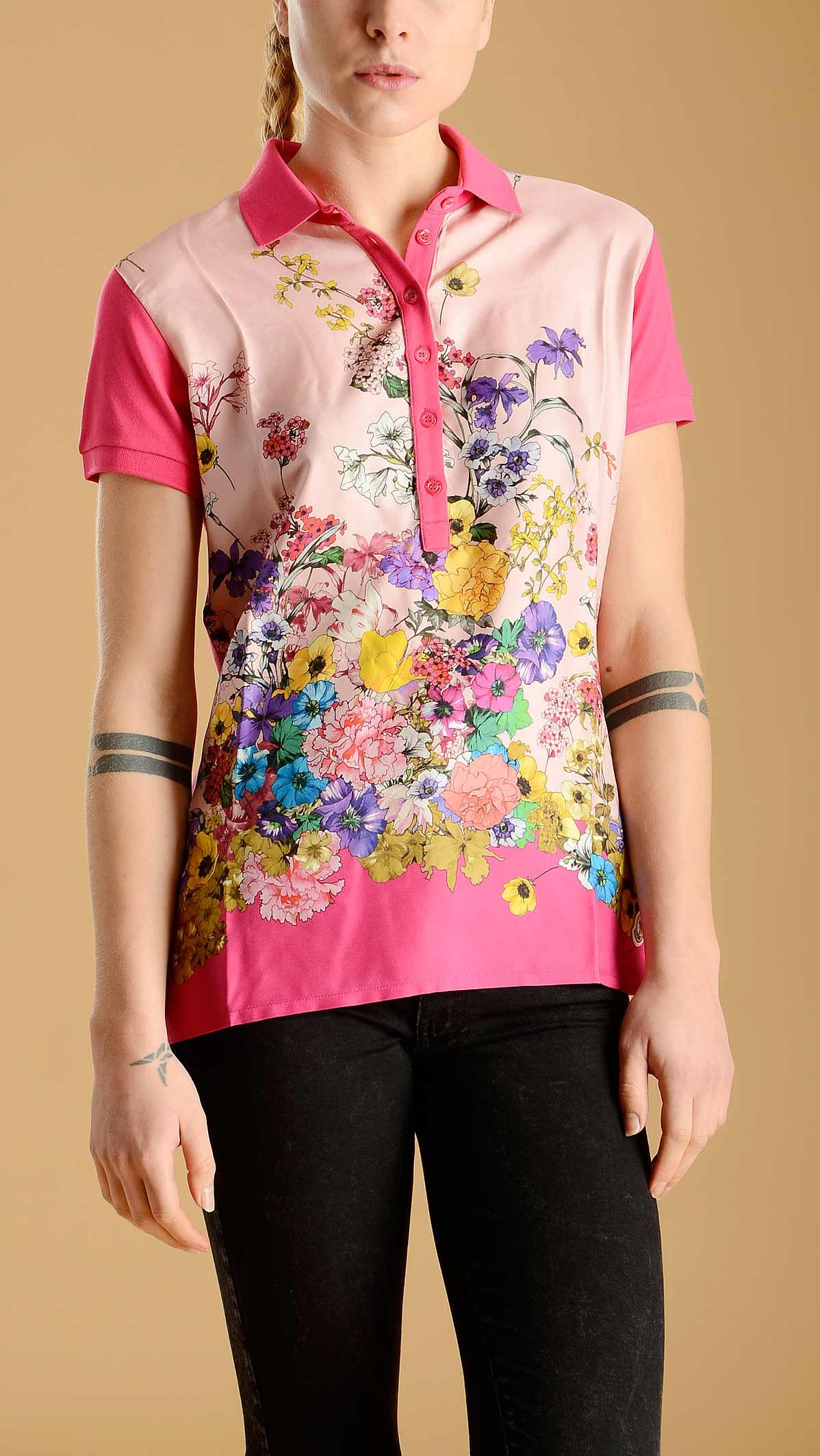 Moncler Short sleeve polo shirt in fuchsia featuring a six button placket and a floral print silk panel at front, 100% silk