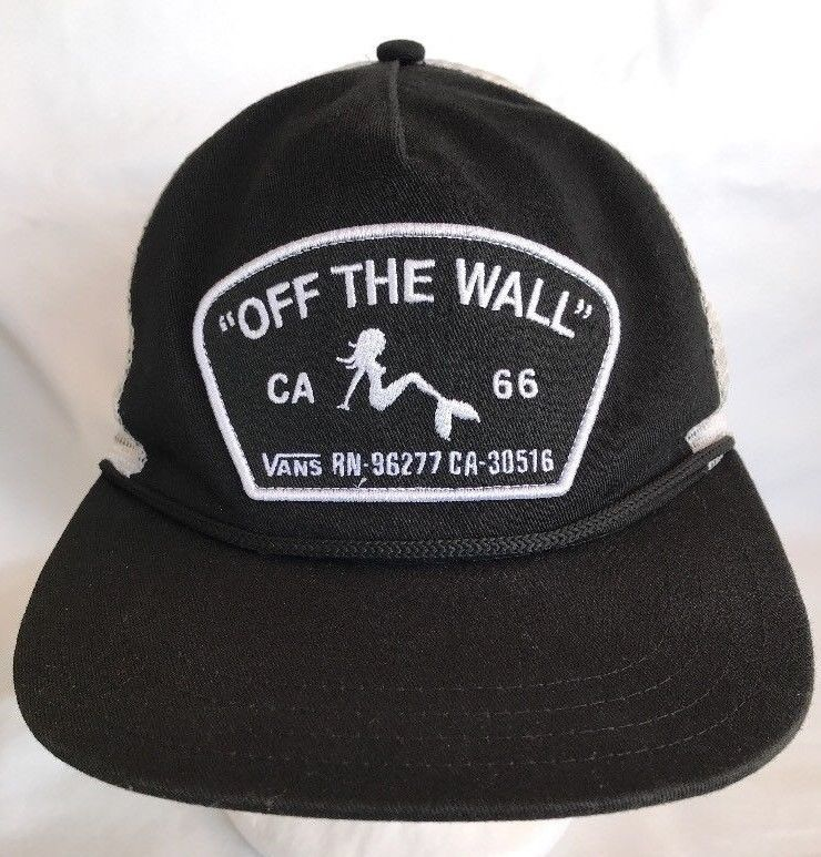 75dcf8358e Vans Off The Wall CA Mermaid Patch Trucker Black White Mesh Mens Hat Cap  Flat  Vans  Trucker