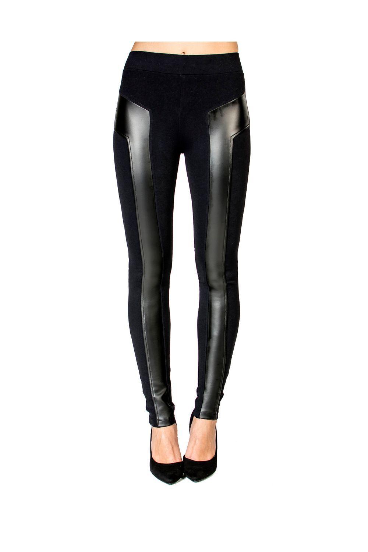 0caf0bfbe Calça Legging Detalhe Couro Handbook | Mundo fashion | Pinterest ...
