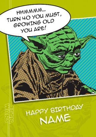 Star Wars A New Hope Yoda Age 40 Birthday Card 40th Birthday Cards Birthday Cards Star Wars Birthday