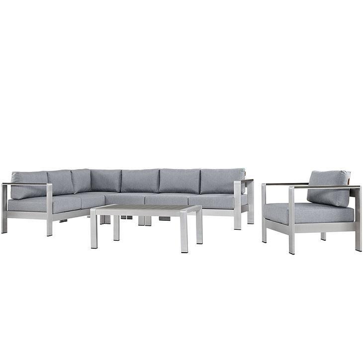 Shore 6 Piece Outdoor Patio Aluminum Sectional Sofa Set Sofa Set