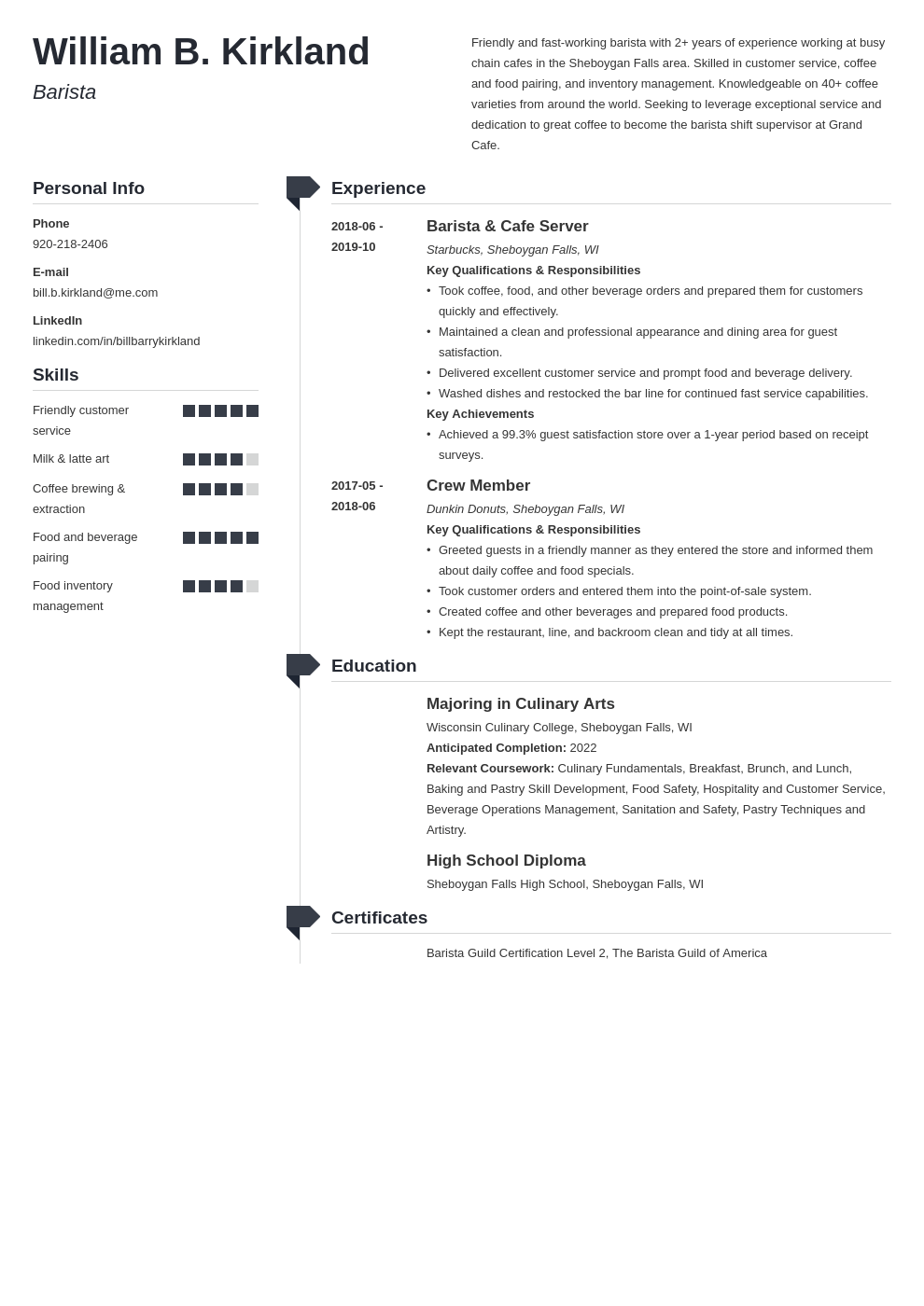 Barista Resume Example Template Muse In 2020 Resume Examples Job Resume Examples Resume