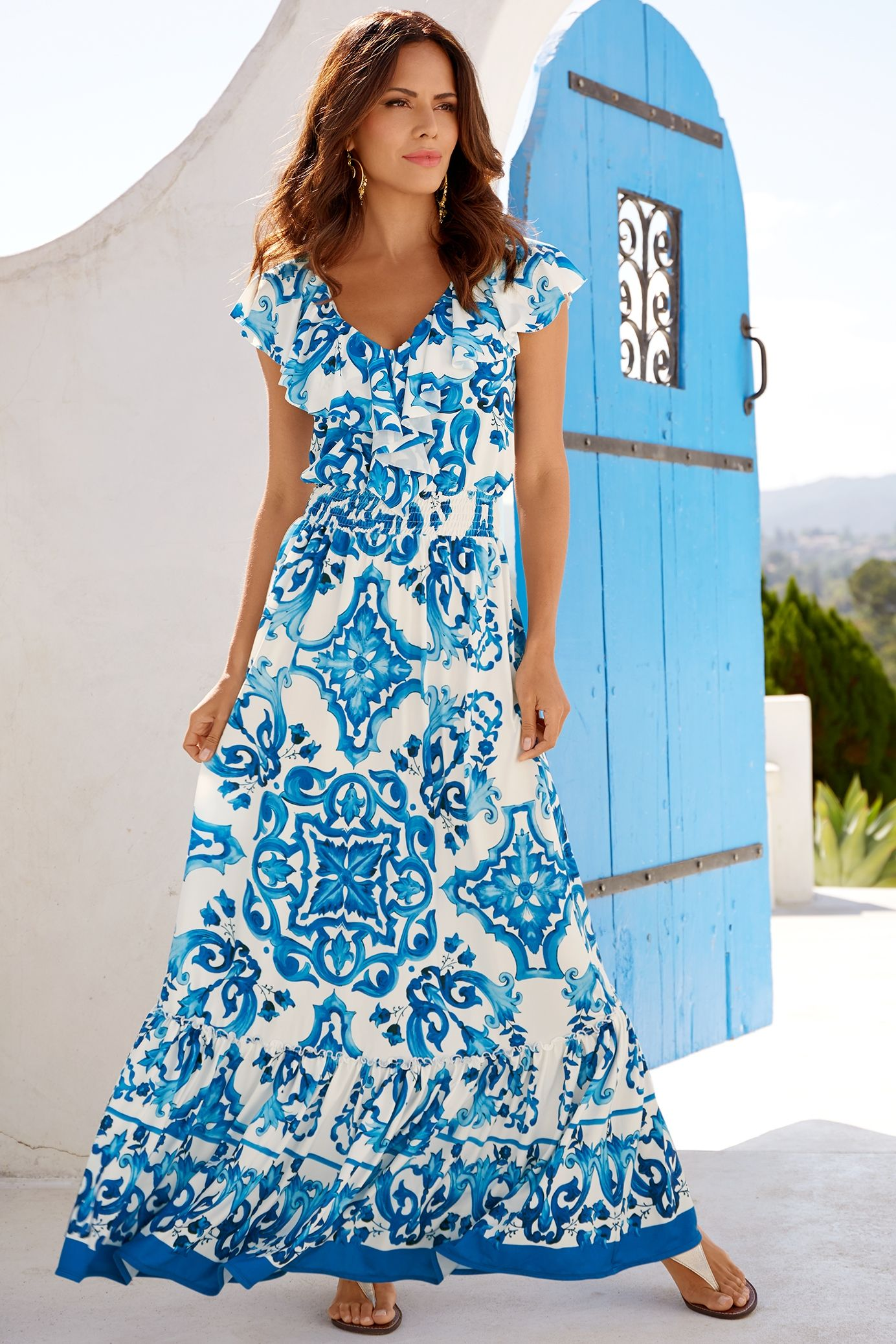 25958a2b49c8 Blue Tile Maxi Dress | Spring And Summer Fashion | Dresses, Resort ...