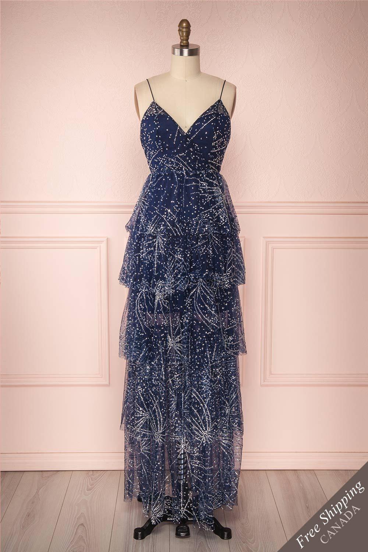 07d998a36b Wilvarde Blue   Silver Glitter Layered Mesh Maxi Dress
