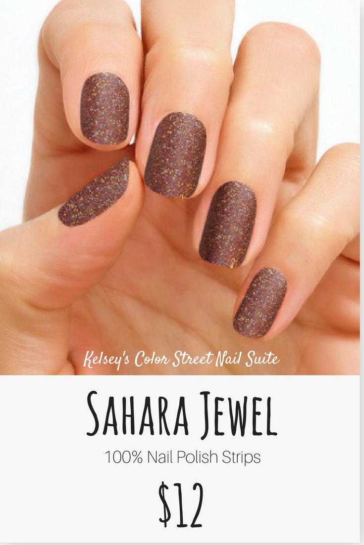 Color Street Sahara Jewel. Dark brown glitter nail polish. Apply dry ...
