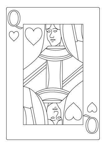 Casino Coloring Drawing Playing Cards Art Illustrations Playing Cards Art Queen Of Hearts Card