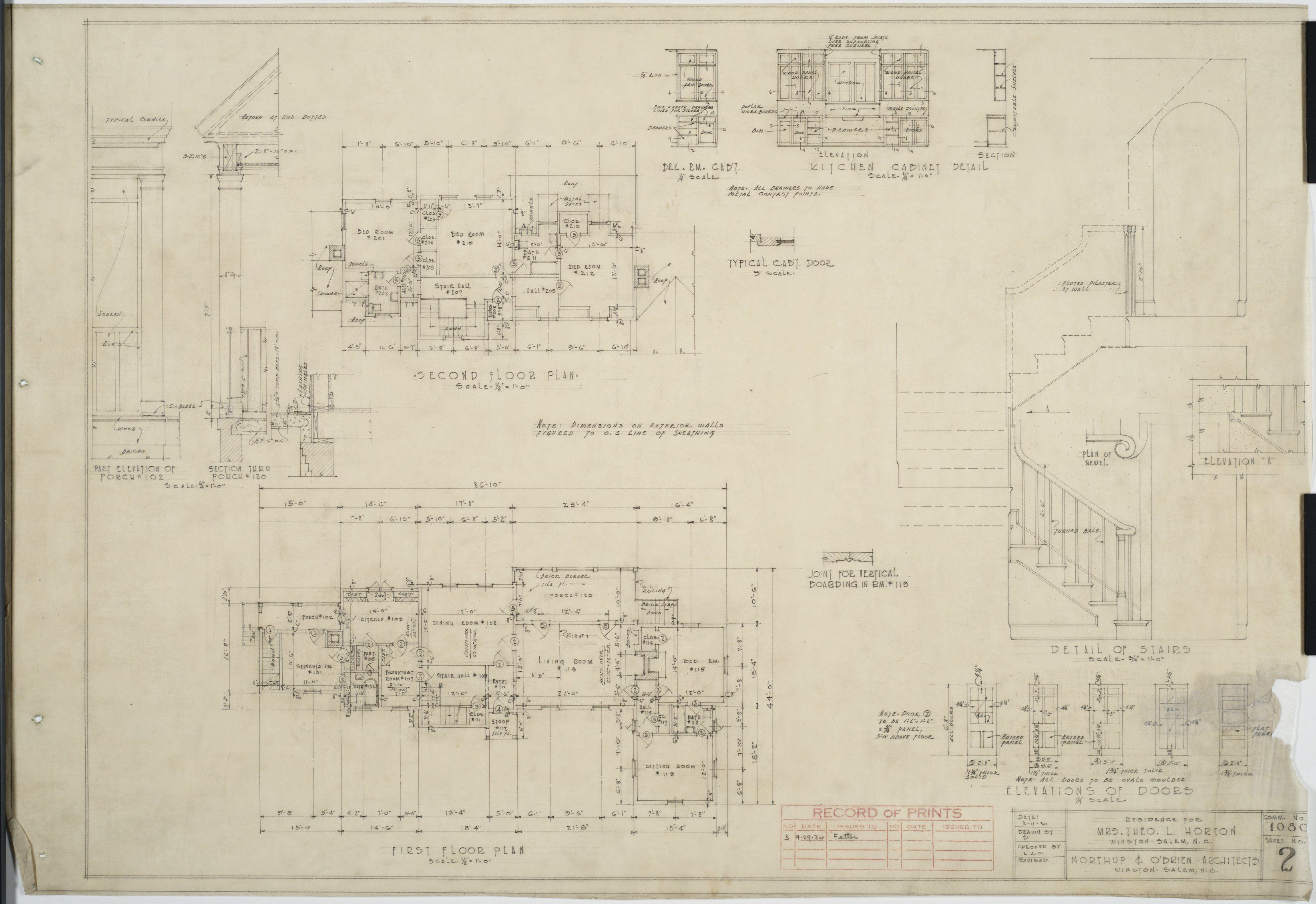 First Floor Plan Second Floor Plan Detail Of Stairs Theo Horton House Floor Plans How To Plan Second Floor