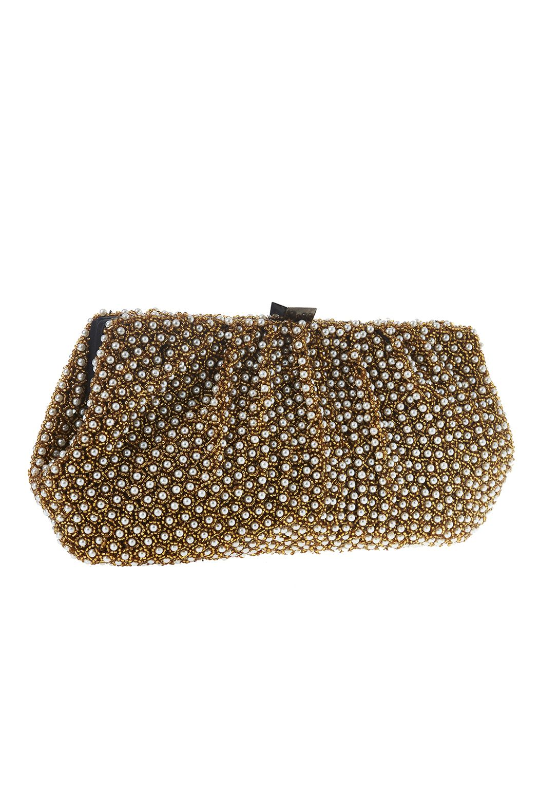 """Small gold beaded clutch withsmall pearlembellishments. Features asquare clasp closurecrossbody strap and one slip interior pocket.  Approx. Measures:10.5"""" W x 5.5""""L.  Gold Beads Pearl Clutch by Santi. Bags - Clutches - Evening New York"""