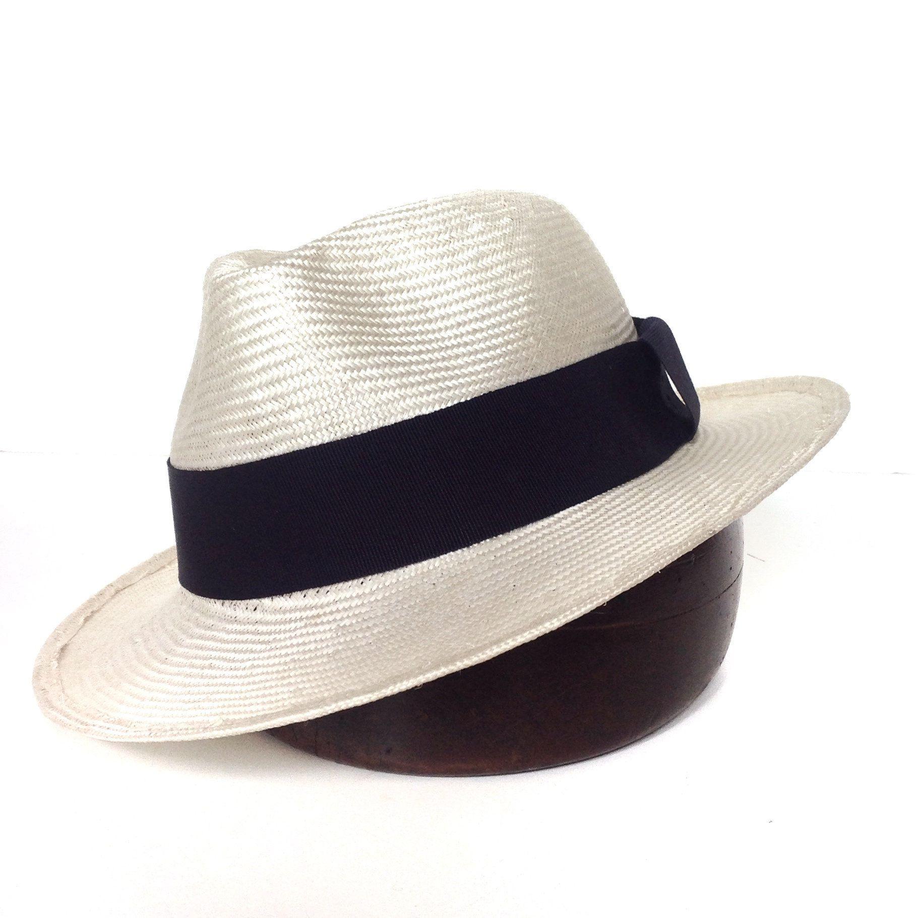 Straw fedora hat. White panama For men. Cruise hat medium brim ... 8bb1a3d50f5b