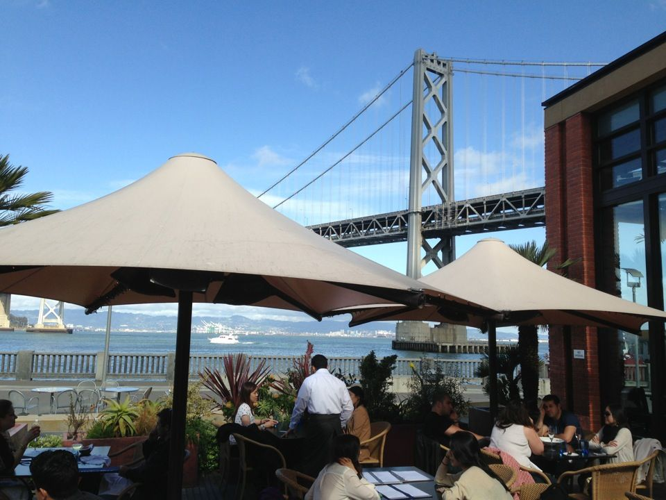 Waterbar: Spectacular views of the dancing light show on the Bay Bridge and the best selection of oysters in town.