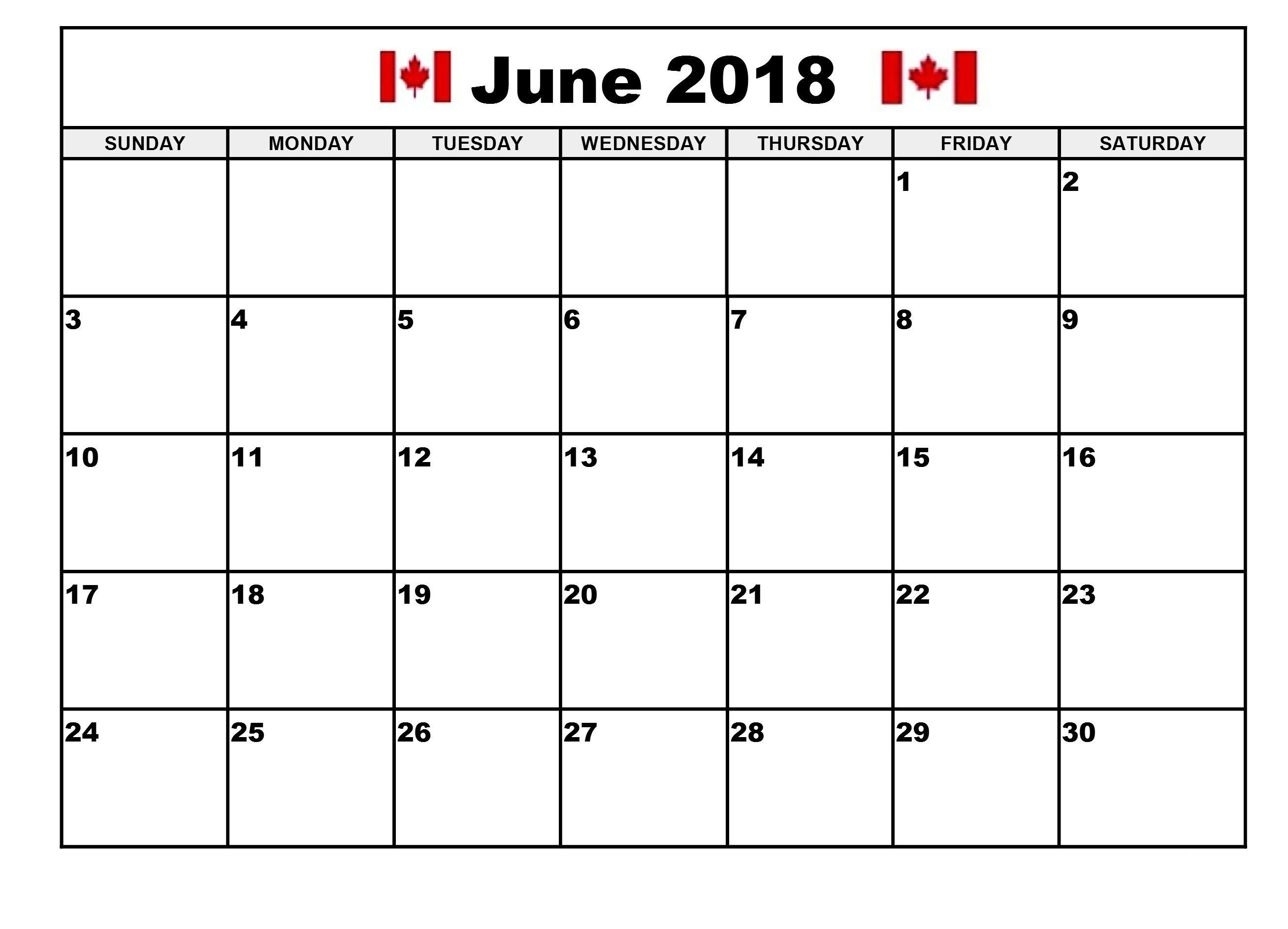 June 2018 Calendar Canada June Sunday Monday Tuesday Monday
