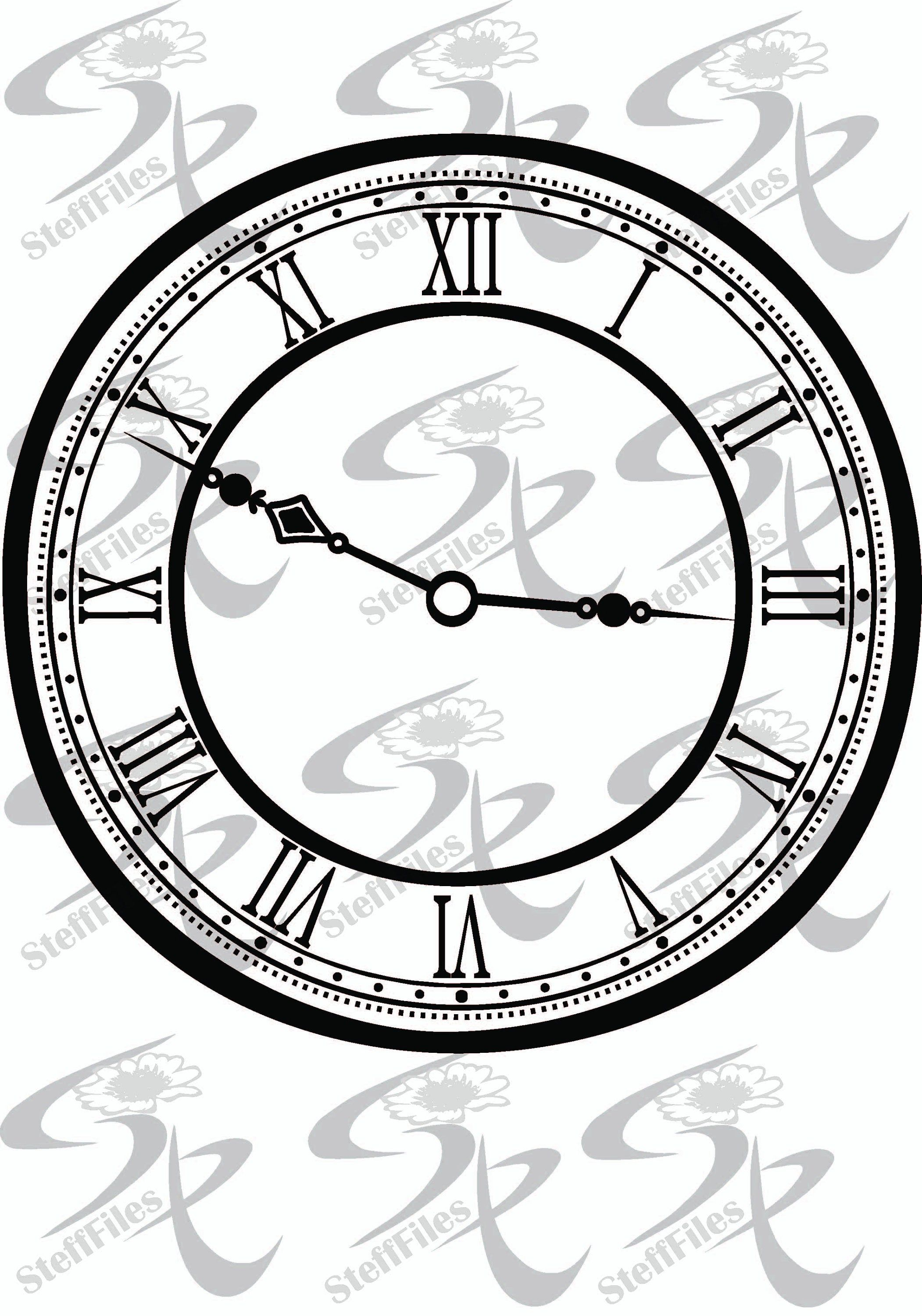 Vector Clock Face Digital Image clipart,SVG,dxf,ai, png